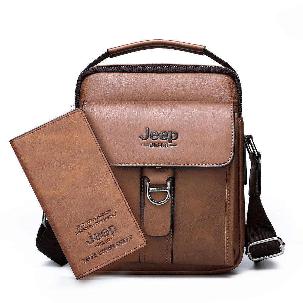 JEEP BULUO Brand New High Quality Leather Crossbody Bags For Men Man's Shoulder Messenger Bag Business Casual Fashion Tote Bag