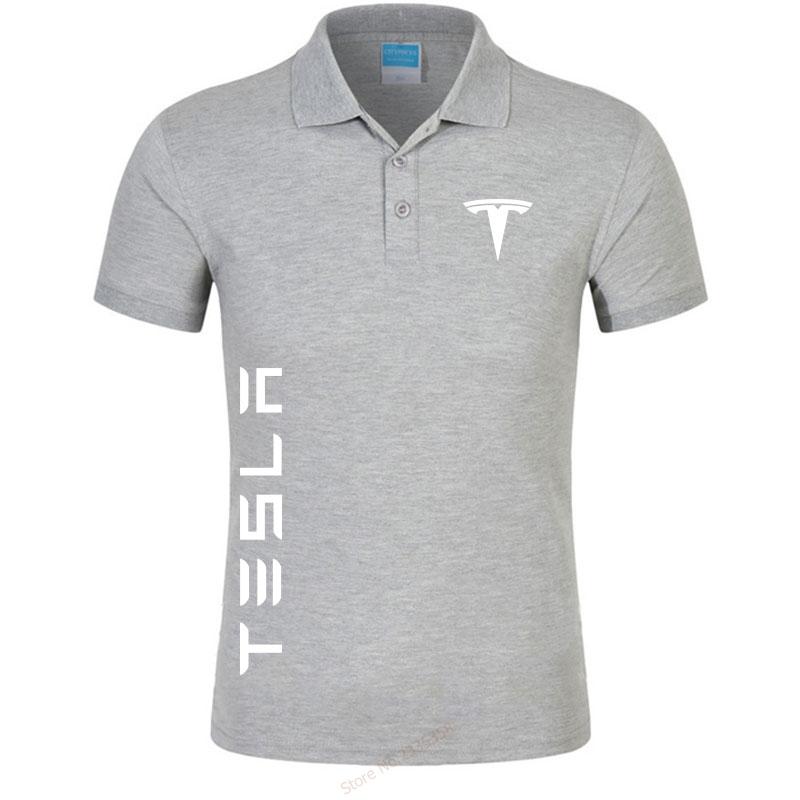 2019 Men's colors Tesla polo shirts casual men's short-sleeved tesla motors polo shirt brand Men polos